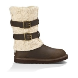 brown ugg boots with cream colored sock overtop and 2 brown belt buckles around the sock