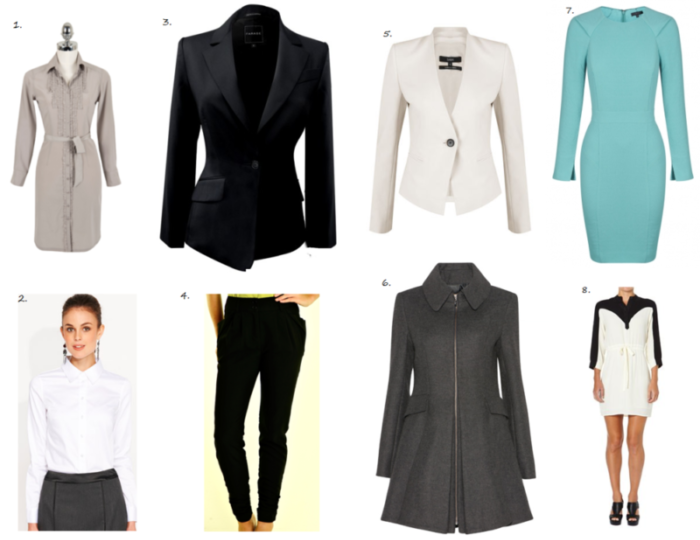 pin board of ladies business wear on white background