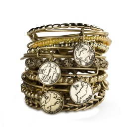 stack of alex and ani bracelets with zodiac charms