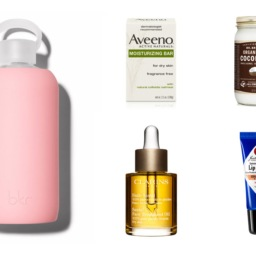 Collage of products to help alleviate dry skin