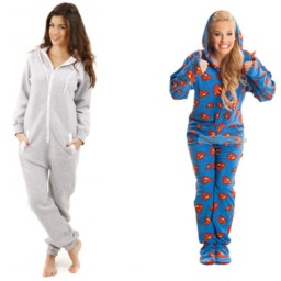 1 man and 3 women wearing winter onesies