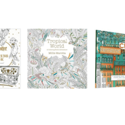 3 images of adult coloring books on a white background