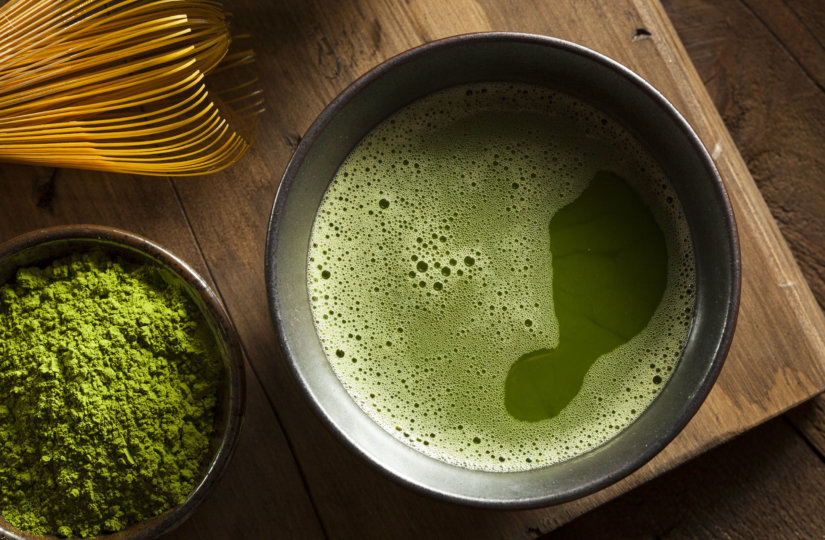 close up top angle view of a bowl of matcha green tea