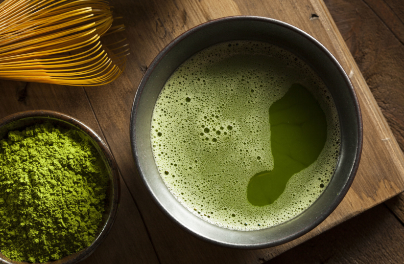 close up top angle view of a bowl of matcha green tea
