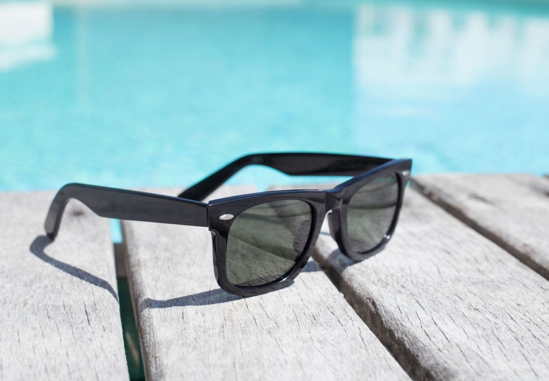 sunglasses by the pool