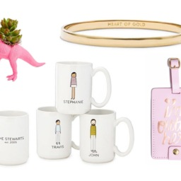 Dino planter, personalized coffee mugs, bangle, luggage tag